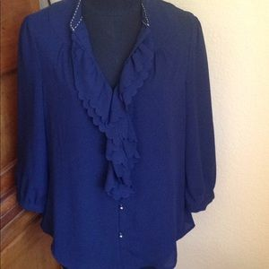 Anthropologie HD in Paris Picea Sz 6 Navy Blouse